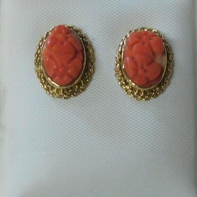 14 k Coral Earrings