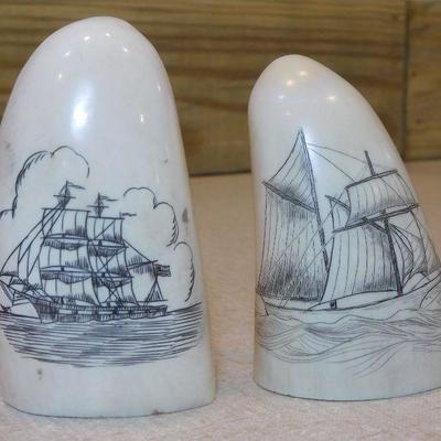 Scrimshaw of 2 Sailing Ships