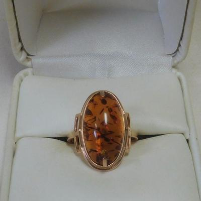 14 k Amber Ring