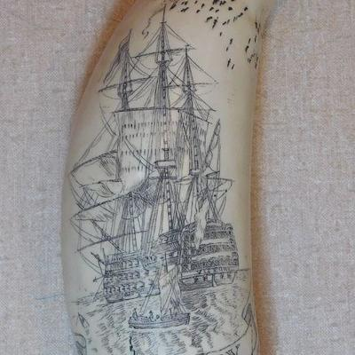 Scrimshaw of H.M.S. Victory - Launched 1765, Royal Navy - Worlds Oldest Naval Ship Still in Commission.