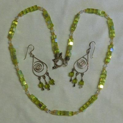 Sterling Bead Necklace and Earrings