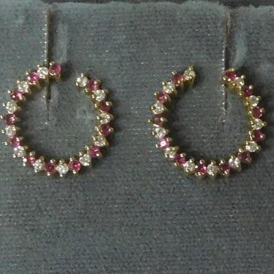 14 k Diamond and Ruby Earrings