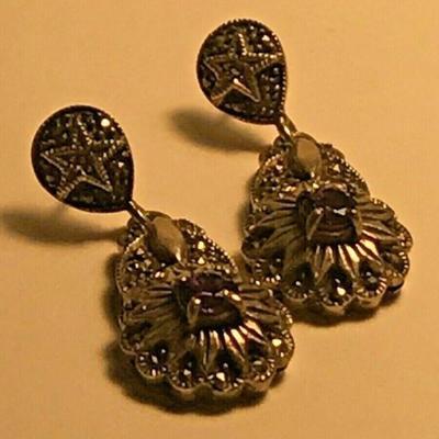WL116 STERLING SILVER AMETHYST FLOWER DANGLE EARRINGShttps://www.ebay.com/itm/124320686790BIN $20.00