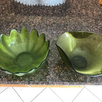 Nice Pressed Green Glass Pieces for sale