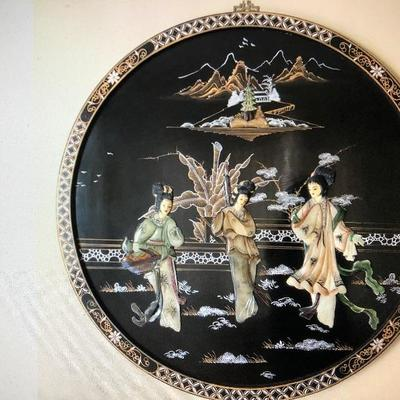Stunning Chinese Lacquer Vintage inlay hanging plaque!