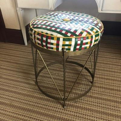 Hadley drum stool with woven leather top