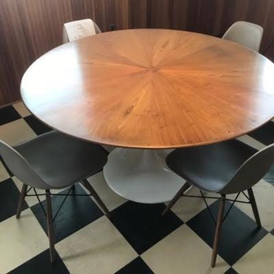 Saarinen tulip table with custom book matched mahogany top 55