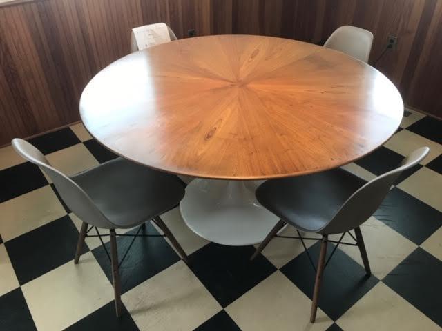 "Saarinen tulip table with custom book matched mahogany top 55"" diam."