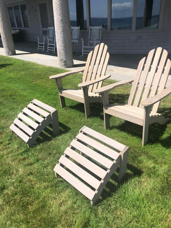 2 of 6 - Oak refinished Adirondack chairs with foot rest