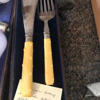 Antique Ivory and Silver Plate Carving Set