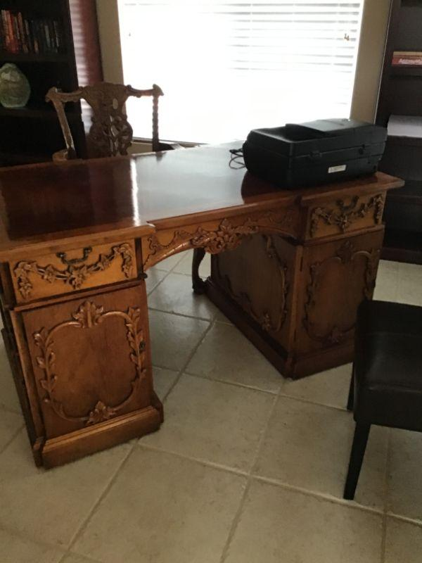 Beautiful antique Partner's desk and chair. Current bid is $259