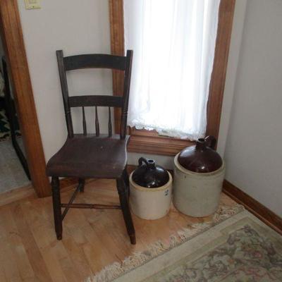 1840s chair & 2 jugs