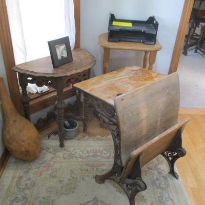 Vintage tables & antiques school desk