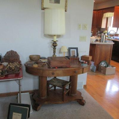 Oval table, stool & woodenware