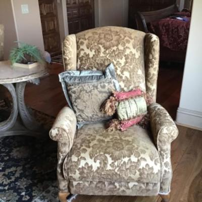 Set of sitting reclining  chairs fabric from France along with many designer pillows