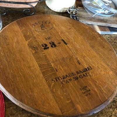Wine barrel top cheese server