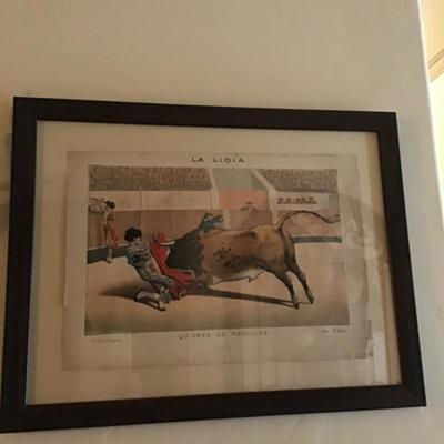 Antique bullfighting art - client paid $600 each unframed - we have them framed and they are amazing - several Original Pieces WOWZA
