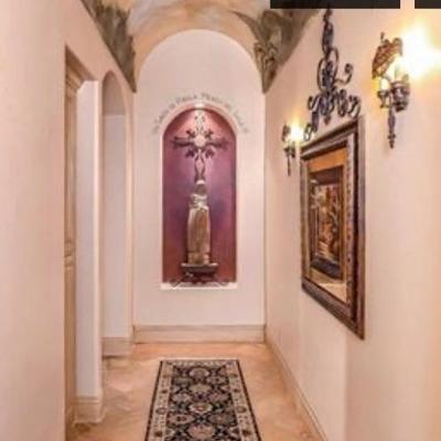 Hallway with saint