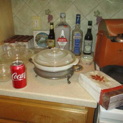 Antique milk glass spice jars, other kitchen.