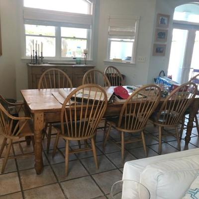 Farm Table and 10 chairs