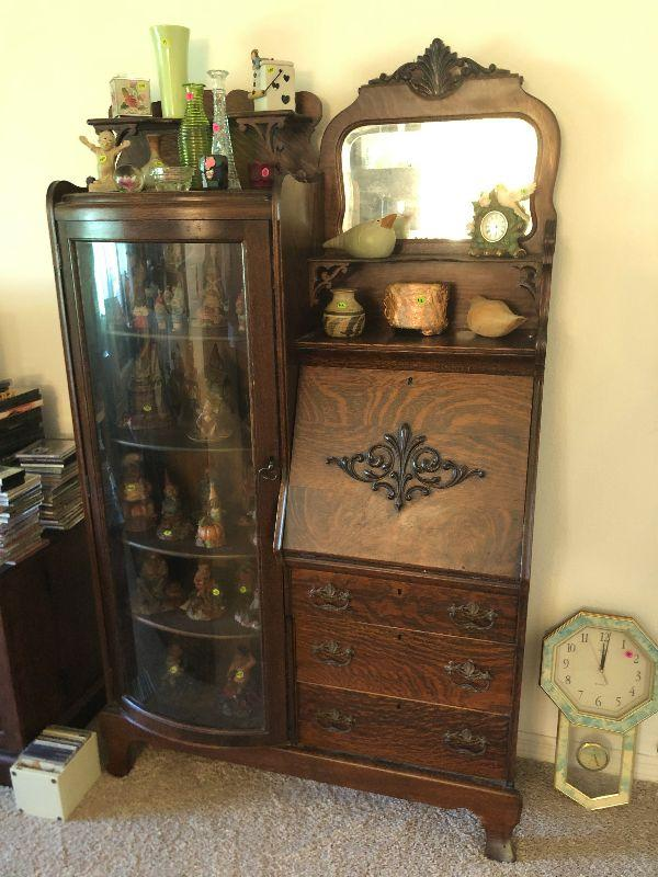 Antique Oak display/desk
