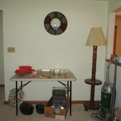 Kitchen, clock & floor lamp