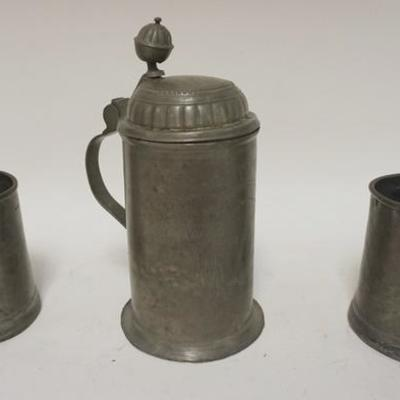 10183 PIECE ANTIQUE PEWTER LOT, 2 MUGS & STEIN INSCRIBED 1808