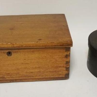 1014LOT DOVETAILED WOODEN BOX & PAINT DECORATED ROUND SUGAR BOX