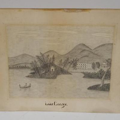 1009PRIMITIVE DRAWING OF LAKE GEORGE