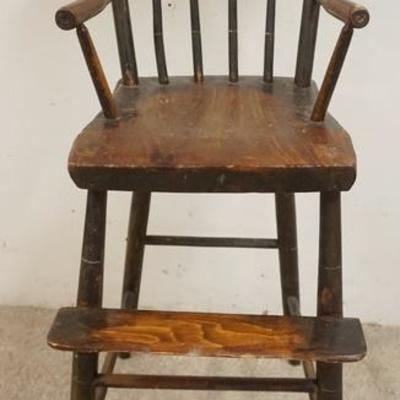 1007ANTIQUE PLANK BOTTOM PAINT DECORATED CHILDS HIGH CHAIR