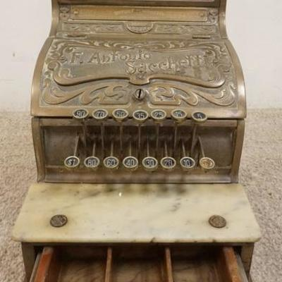 1019ANTIQUE NATIONAL COUNTRY STORE BRASS NATIONAL CASH REGISTER 180 MARKED F ANTONIO SACCHETTI