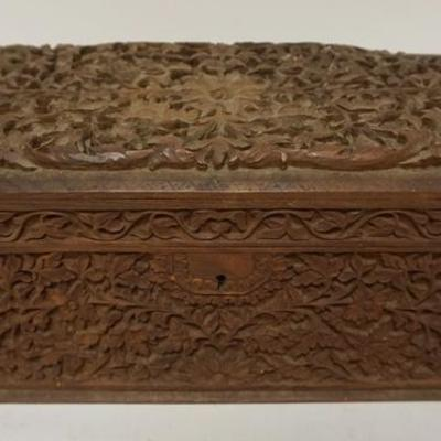 1016ORNATELY CARVED WOODEN BOX, 15 IN WIDE X 7 1/2 IN DEEP X 7 IN HIGH