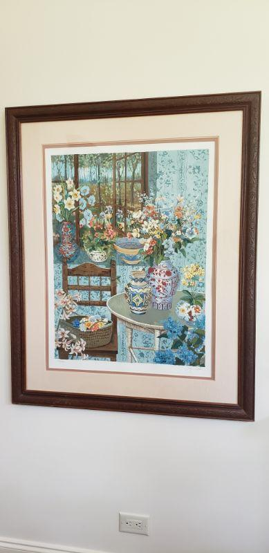 """***RESERVE PRICE OF $2,000*** Client may consider a bid lower than the reserve price if not met. https://ctbids.com/#!/description/share/537354  Very rare John Powell serigraph numbered 234 of 300. Signed as well. Named """"Country Home."""" Very difficult to find this one anywhere online. Frame measures 38"""" wide and 47"""" in height.  """"John Powell has worked in the arts through out his life. Born in Hollywood, California, he began to paint at the age of 16. Over the past 45 years he has melded his life experiences into a signature style of painting. His paintings are precise and intricate, laced with lyrical realism and expressing his love for color, flowers, gardens, pottery and art from around the world, interesting fabrics and visions of his travels.  John has had several one man shows in the United States and Japan. He was honored by the World Federation United Nations (WFUNA) during their 50th anniversary celebration, being chosen as their artist of the year and at that time his work was added to the permanent collection of the Philatelic Museum at the Palais de Nations in Geneva, Switzerland. His paintings are included in many notable private collections as well as museums throughout the world. John Powell Fine Art has published a book on John and his life as an artist. 'JOHN POWELL - HIS LIFE    Visions of Paradise' """"  http://johnpowellfineart.com/?keyvalue=3561&page=ViewCollection&subkeyvalue=4710&startrec=1&displayperpage=9999&displayhorz=1"""