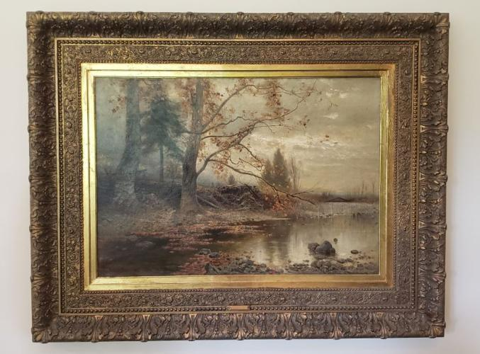 "***RESERVE PRICE of $10,000*** Client may consider lower bid if reserve is not met. https://ctbids.com/#!/description/share/538053  Arthur Parton (1842-1914) was a Hudson River School artist. Paintings by Parton (1842-1914) can be found in the Brooklyn Museum, the Indianapolis Museum of Art, the Newark Museum, the High Museum, the Hudson River Museum, the Hickory Museum, and the Metropolitan Museum, among others. The date on this oil on canvas is 1886. The approximate size with frame is 34"" x 40"". This scene depicts the fall season. It is believed that the other three season are currently in museums making this one very special piece of art.   Arthur was the son of George Parton, a cabinet maker, and his wife Elizabeth.  In his formative years, Parton studied with William Trost Richards and at the Pennsylvania Academy.  Adopting the style of the Hudson River painters, his first exhibit came in 1862 in Philadelphia, but by 1865 he was settled in New York City. Parton journeyed to Europe in 1869, where he came under the spell of the Barbizon painters.  This probably marks the beginning of his gradual shift from the Hudson River style to the style of the increasingly popular Tonalist painters.  He became an Associate member of the National Academy in 1871 and a full Academician in 1884.  From 1874 to 1893, the artist maintained a studio in the famed Tenth Street Studio Building, where one of his associates was William Merritt Chase.     Parton was well known in his own time and exhibited extensively.  Among his many awards were prizes at the 1900 Paris Exposition and the 1904 St. Louis Exposition.  He painted extensively in the Catskills and the Adirondacks and seems to have made painting excursions to England and Scotland as well.  Among his favorite subjects were depictions of apple orchards in springtime."" https://www.oxfordgallery.com/"