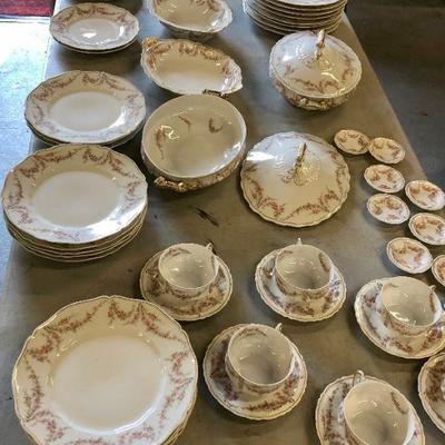 Large lot of T H Limoges Dinnerware