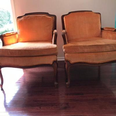 Lovely Pair of Hollywood Regency Chairs. Great Lines, Overall good used condition. One chair has slight crack (tight) at top as pictured....