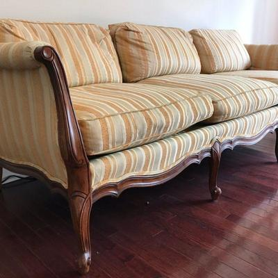 Down Filled Sofa, fair condition with one cushion broken zipper. Some stains. Quality custom piece. $200