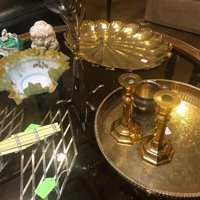 Large Brass Serving Trays, Antique Fluted Frosted Bowl