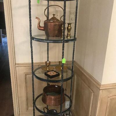Round Metal Curio Shelf, Antique Copper Tea Kettle