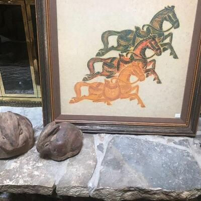 Vintage Jumping Horses Rubbings, Two Stoned Bunnies