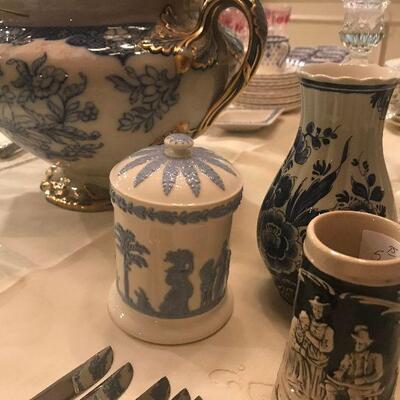Delt Vase, German Stein, Wedgewood Canister
