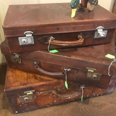 Antique Leather Traveling Cases