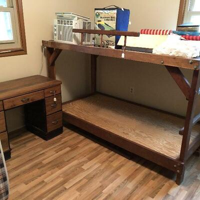 bunk bed, desk