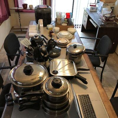 stainless steel pots, dishes, silverware