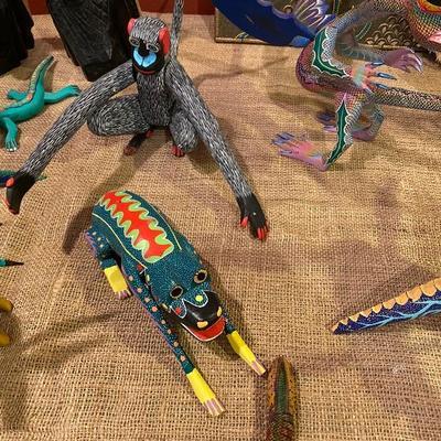 oaxacan wood carved artist painted animal figurines