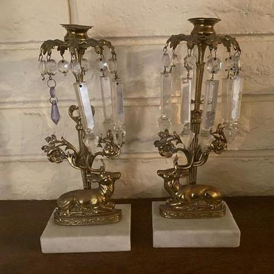 French pair of candle holders with marble base