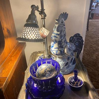 Dale Tiffany lamp and blue and white pieces