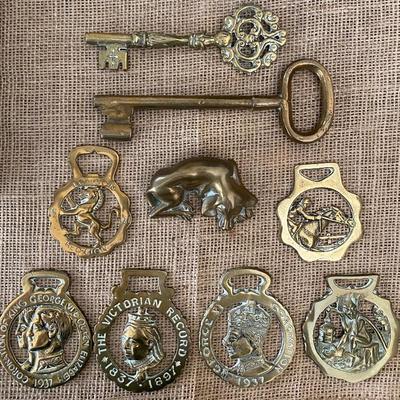 Vintage English brass horse bridle medallions