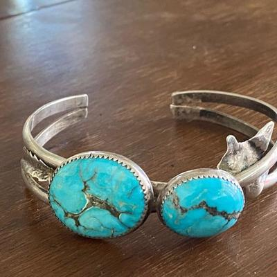 Native American Indian vintage sterling and turquoise bracelet