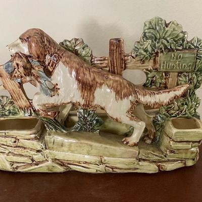 McCoy pottery hunting dog vase
